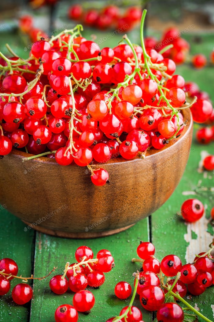 ripe fresh organic red currants in a wooden bowl closeup