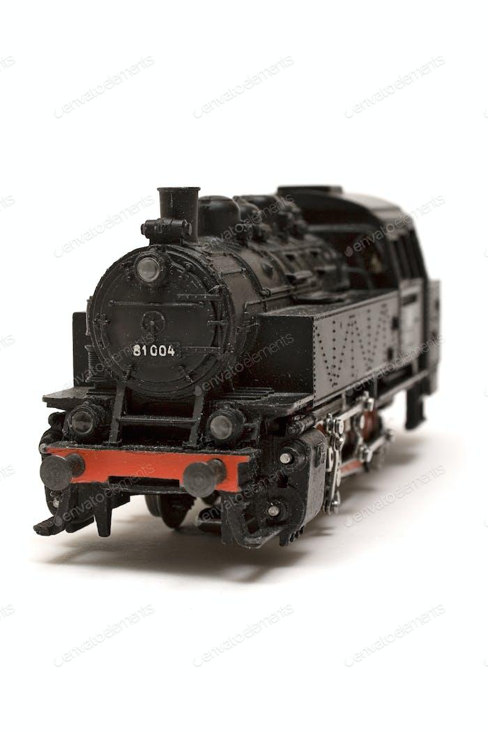 Lokomotivmodell isoliert auf weißem Hintergrund