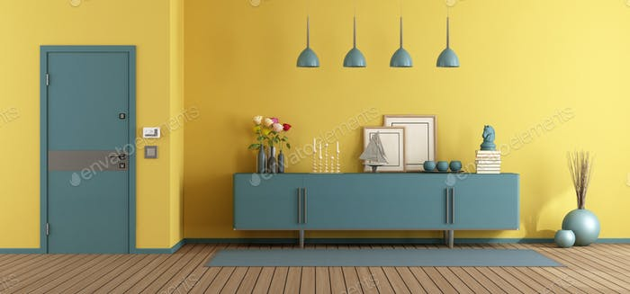 Yellow and blue home entence