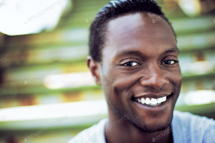 Portrait of an attractive african american man laughing