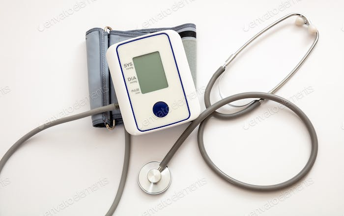 Blood pressure meter medical electronic tonometer isolated on white background.
