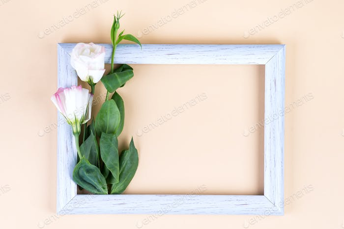 Empty white frame and flowers eustoma on beige paper background with copy space. Holiday concept