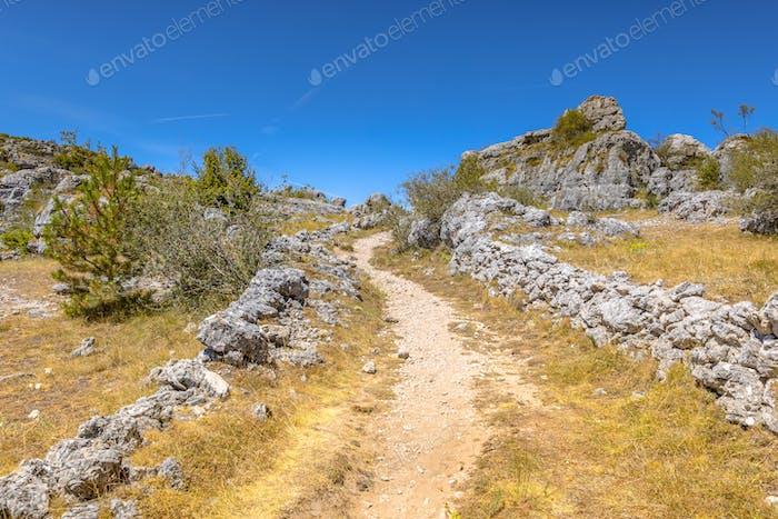 Rock formation on limestone karst plateau