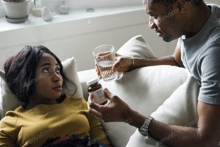 Husband taking care his sickness wife