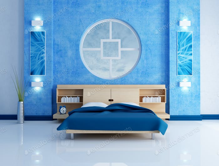 blue modern bedroom