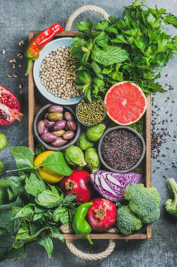 Frisches Gemüse und Obst, Samen, Getreide, Bohnen, Gewürze, Superfoods, Kräuter