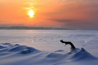 Sunset in the icy wilderness