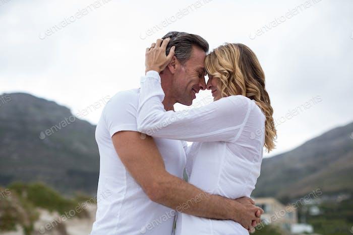 Reifen paar umarmen jeder andere auf die Strand