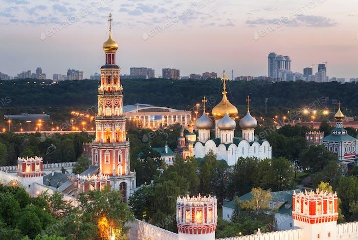 Novodevichy Convent (at evening), also known as Bogoroditse-Smolensky Monastery, Moscow, Russia
