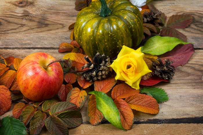 Fall pumpkin, cones, apple and yellow roses