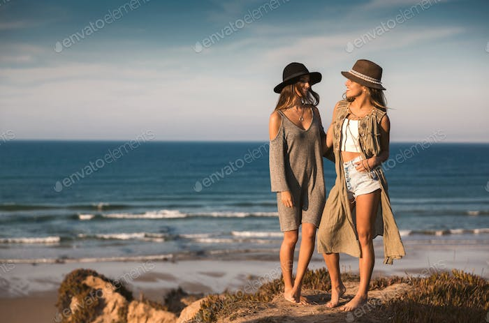 Beautiful girls on the beach