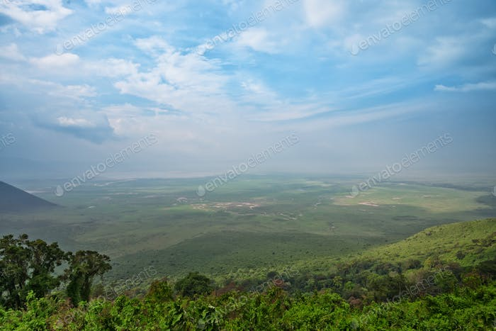 View from rim of Ngorongoro crater