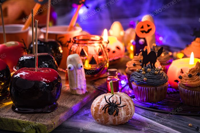 Sweet treats at Halloween table, party food