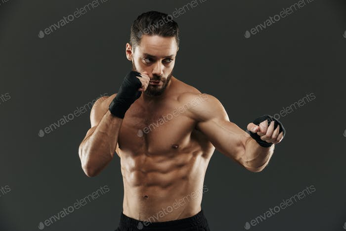 Portrait of a concentrated muscular boxer fighting