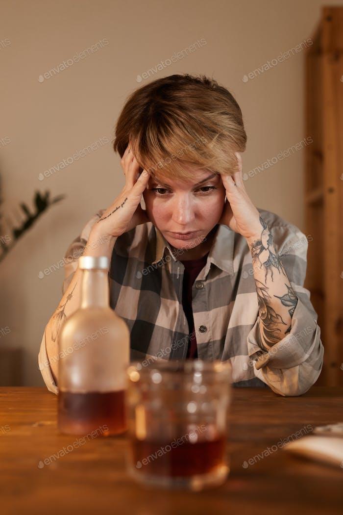 Woman has alcohol addiction