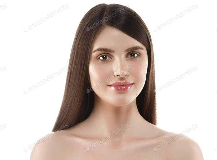 Beautiful Woman Face Portrait Beauty Skin Care Concept Beautiful.  Isolated on white