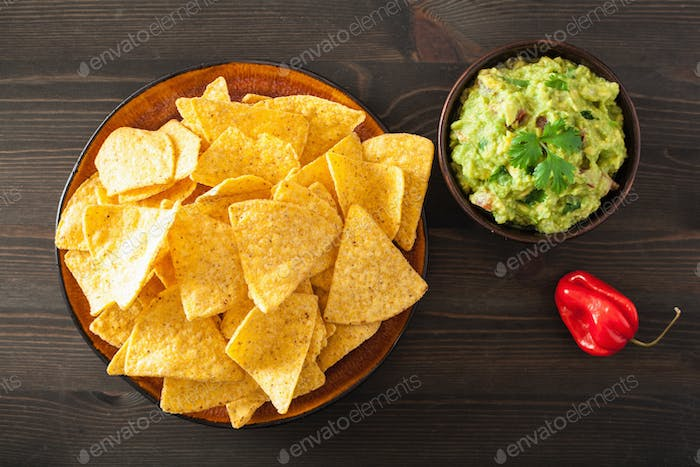 mexican guacamole dip and nachos tortilla chips