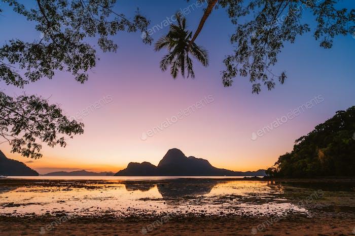 El Nido Bucht. Palawan, Philippinen. Silhouette von Palmen im Sonnenuntergangslicht. Exotische tropische Insel