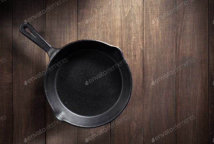 frying pan  on table