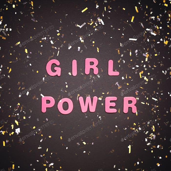 GIRL POWER writing on black background