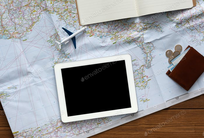 Plan trip in one click on your tablet with blank screen