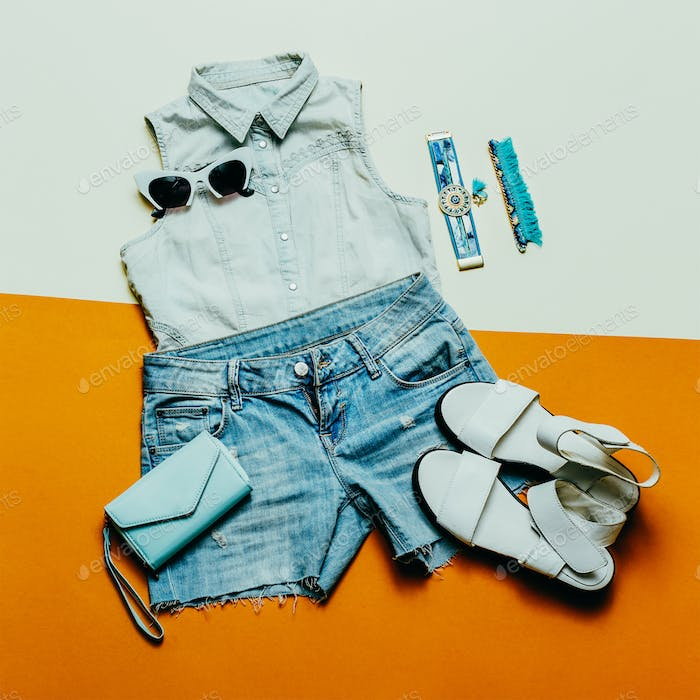 Summer Denim outfit. Jeans Shorts Sandals hat lady fashion style