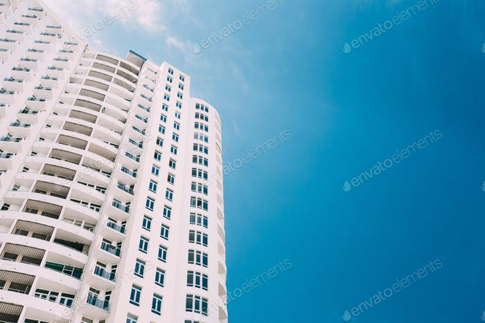 Wall Of New Modern Multi-storey Residential Building House In Re