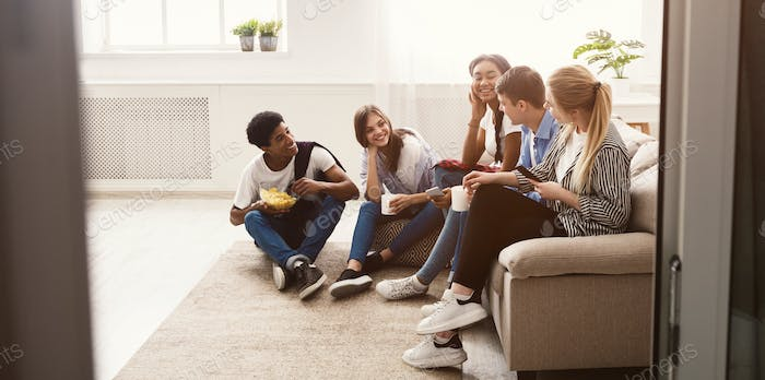 Teen friends talking and spending time together