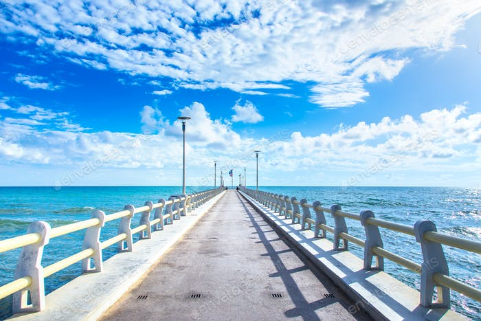 Pier or jetty and sea in Forte dei Marmi Versilia Tuscany Italy