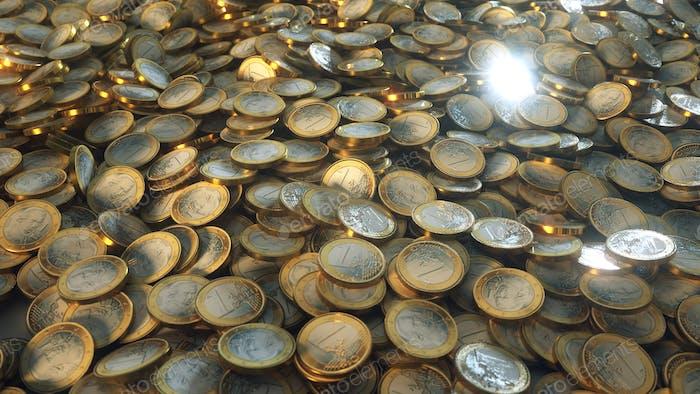 Monedas Euro amontonadas