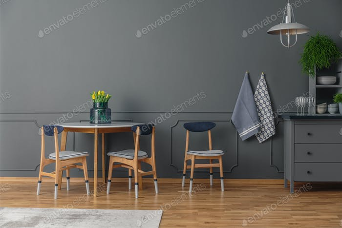 Table in simple kitchen interior