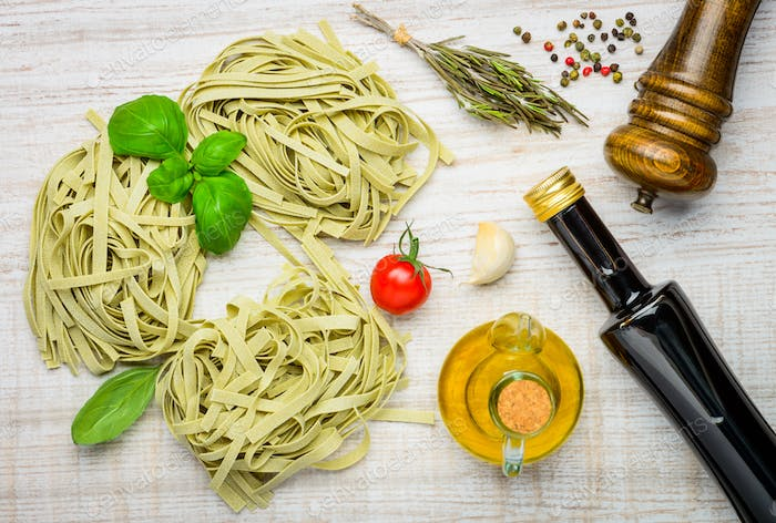 Italian Cuisine Tagliatelle Pasta and Ingredients