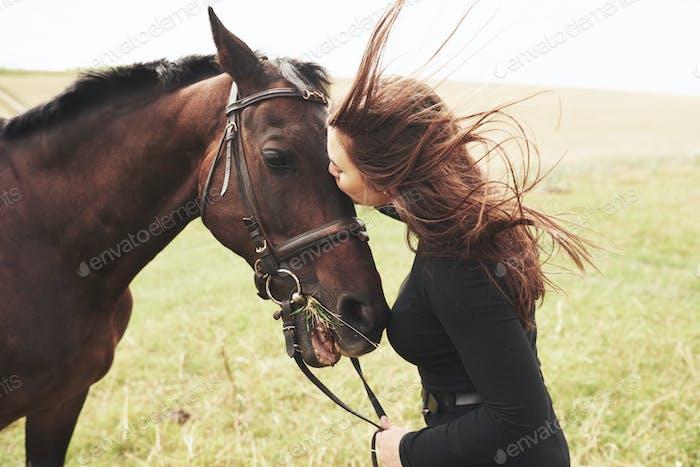 Ein glückliches Mädchen kommuniziert mit ihrem Lieblingspferd. Das Mädchen liebt Tiere undReiten