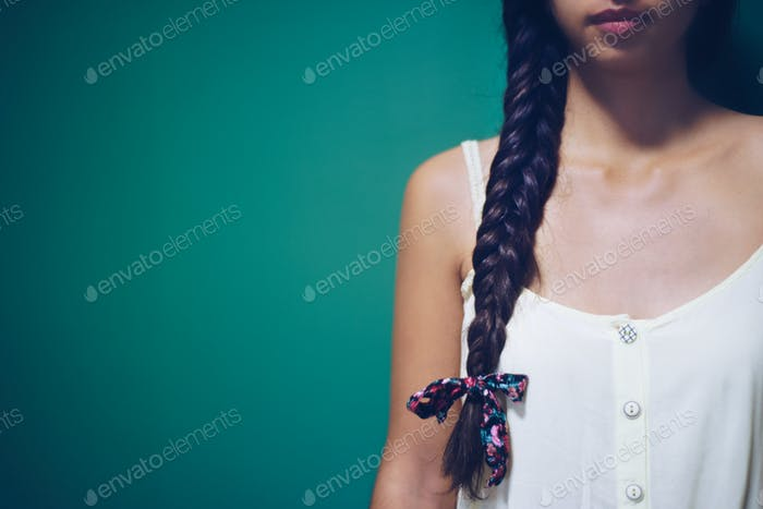 Girl with long natural hair , hairstyle braid