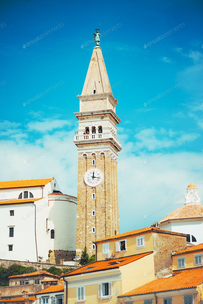 Bell clock tower in Piran, Slovenia