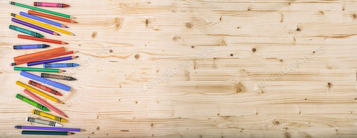 School supplies on wooden background
