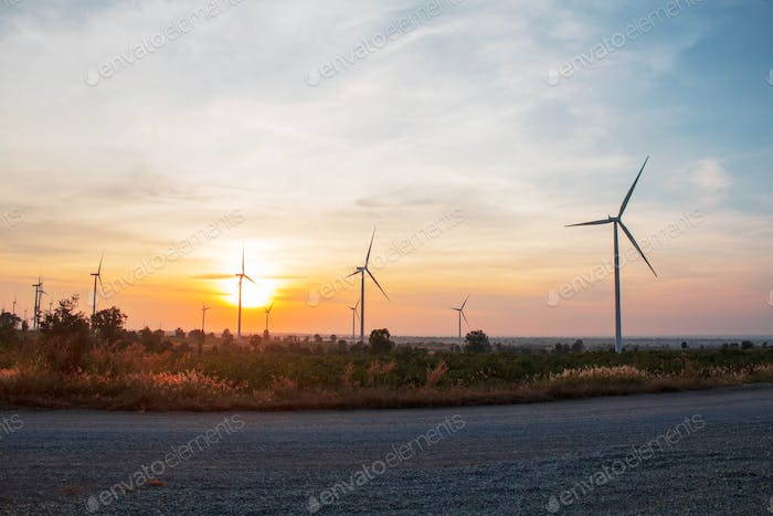 wind farm with sunrise