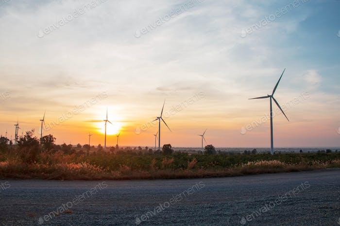 Windpark mit Sonnenaufgang