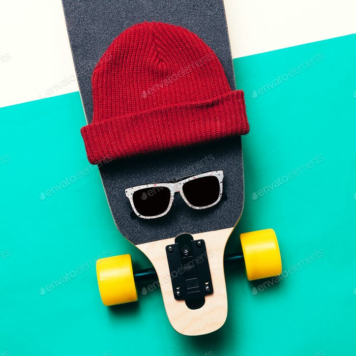 Skateboard, sunglasses, cap. Love Urban fashion. minimal design