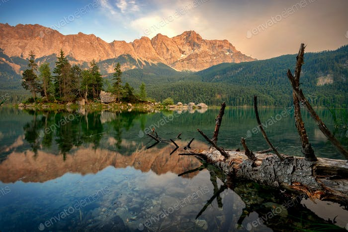 Majestic Zugspitze mountain at Bavarian Alps