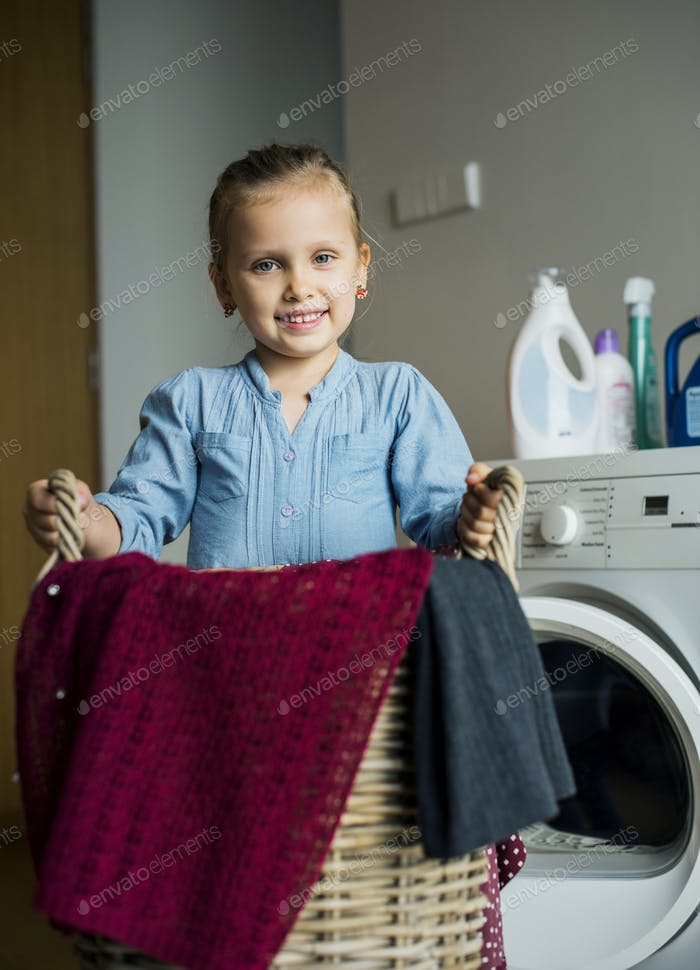 Kid helping house chores