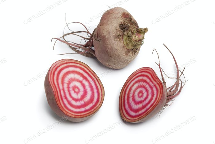 Whole and partial chioggia beets