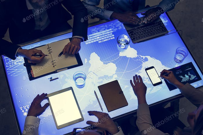 Digital devices in a cyber space table