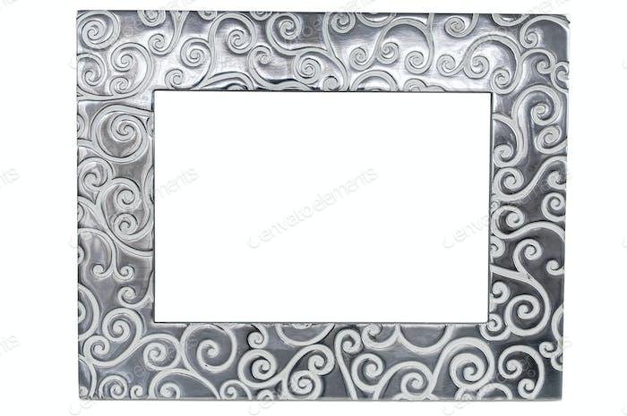 Dekorativer leerer Bilderrahmen auf weißem Hintergrund