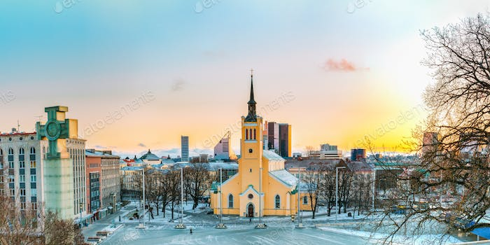 Tallinn, Estonia. Panorama Of Church Of St. John Jaani Kirik At