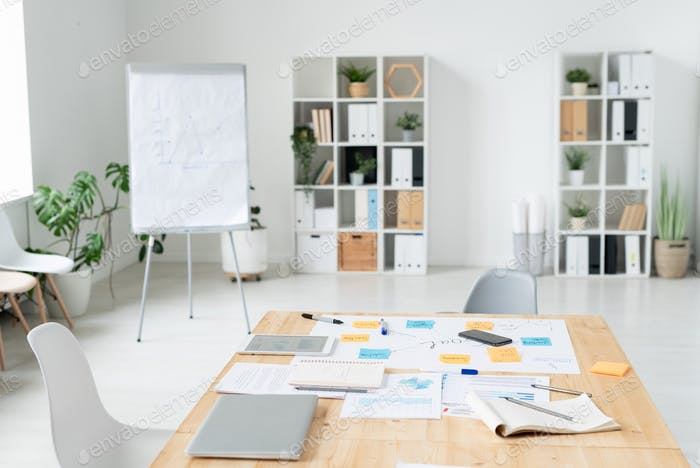 Part of large contemporary office for working business meetings