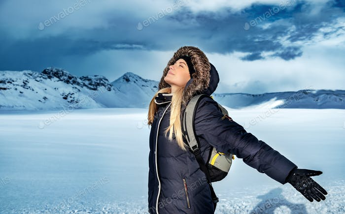 Woman enjoying winter vacation