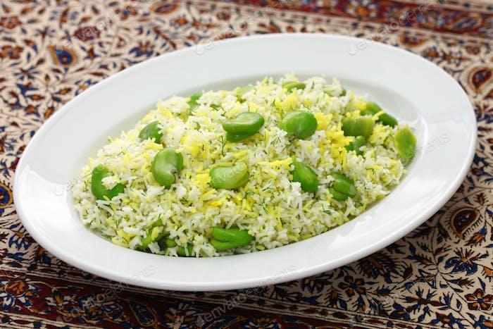baghali polo, fava beans rice, iranian cuisine