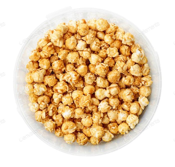 caramel popcorn in plastic container