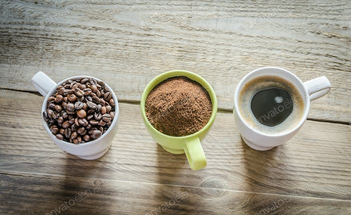 Three stages of coffee preparation